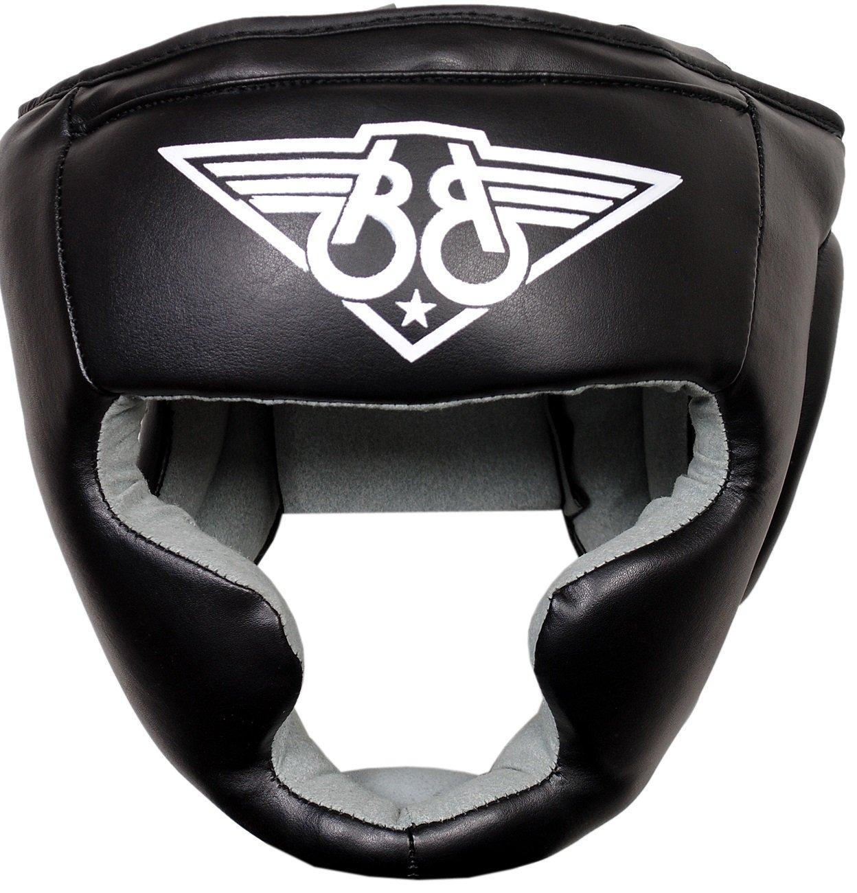 Black TINKSKY Boxing Helmet Closed Type Boxing Head Guard Muay Thai Kick Brace Head Protection for Free Combat Taekwondo