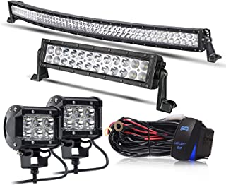 KEENAXIS DOT Approved 52Inch Curved LED Light Bar+12Inch LED Light Bar+2PCS 4Inch Pods Lights+Rocker Switch Wiring Harness Kit for Truck Jeep SUV UTV Boat ATV Dodge Ram,1 Year Warranty
