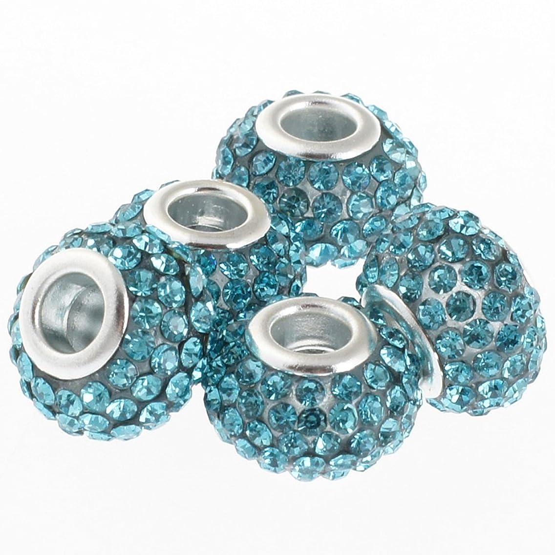 RUBYCA Big Hole Large Czech Crystal Charm Beads fit European Charm Bracelet (5pcs, Blue, 15mm)