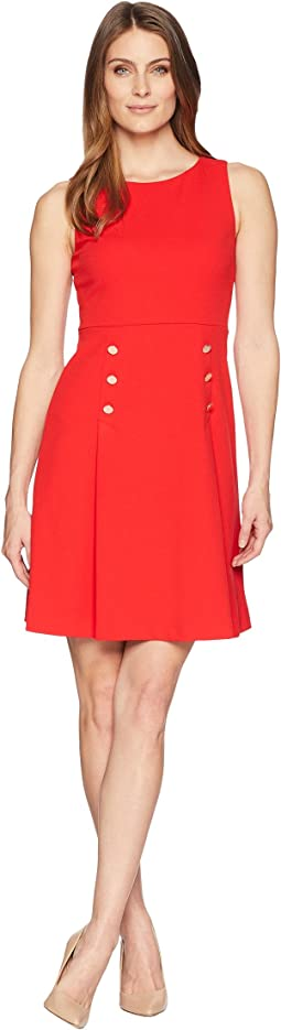 Sleeveless Flared A-Line Pleated Dress with Button Details