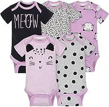 Gerber Baby Girls Onesies Bodysuits 5 Pack, Purple Cats, 6-9 Months