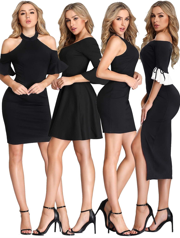 EverPretty Women's Knee Length Wedding Guest Dress Formal Party Dresses Black