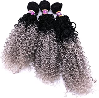 Kinky Curly Weave Hair Bundles Synthetic Hair Extension Ombre Color 16 18 20 Inches 3 Pieces Black and Silver Grey