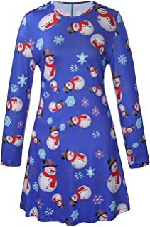 Youthwell Women Christmas Halloween Print Long Sleeves A Line Swing Dress Plus Size (S-5XL)