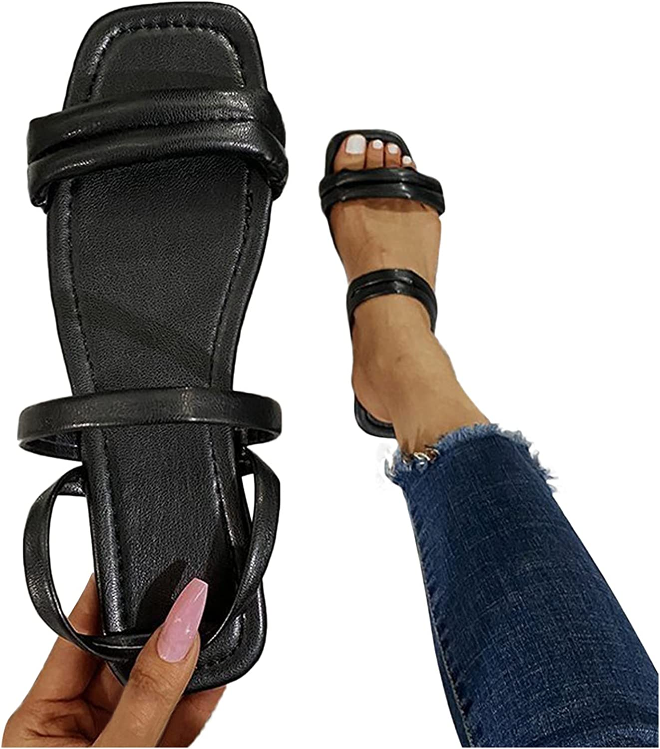 Hgndbloo Sandals famous Shoes for Seasonal Wrap Introduction Women Flat Slippers Platfo Breathable