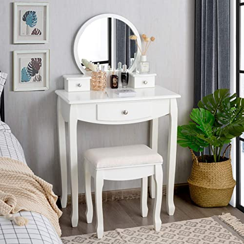 high quality CHARMAID Vanity Set with Large Round Mirror lowest and 3 Drawers, Makeup online Table with Removable Top for Women Girls, Dressing Table with Cushioned Stool, White online sale
