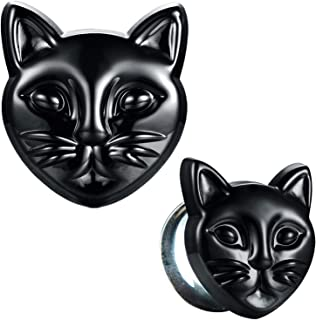 Glass Ear Plugs Glossy Black Cat Double Flare Saddle Stretching Gauges Expander 0G-16mm