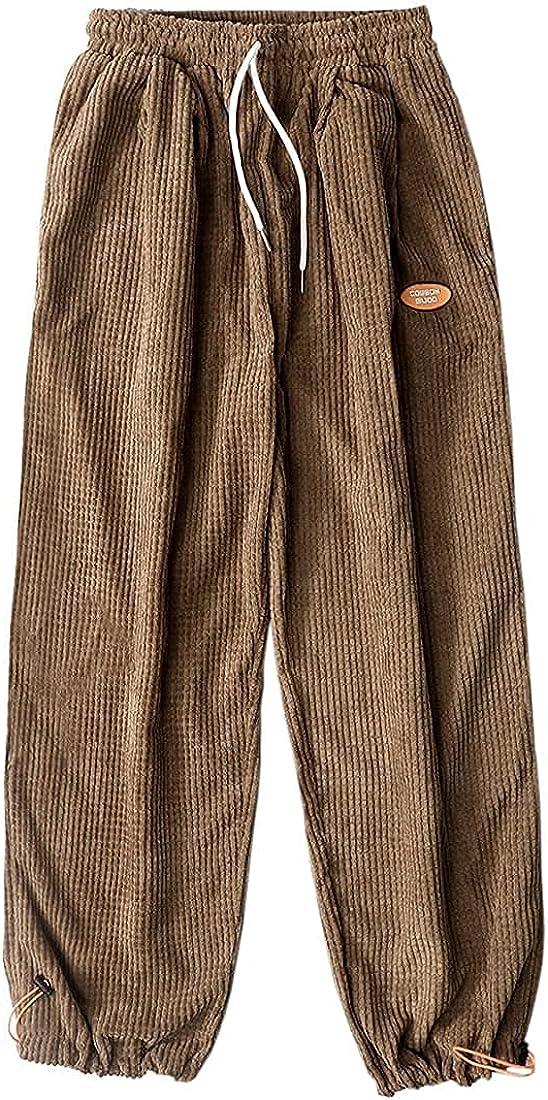 Aelfric Eden Mens Corduroy Cargo Long Vintage 国産品 Solid Sweatpants E 商品