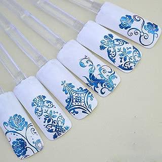 GrandSiri Decoration 3D Flower Decal Art Tip Stamping Manicure Nail Stickers 108Pcs Dark Blue