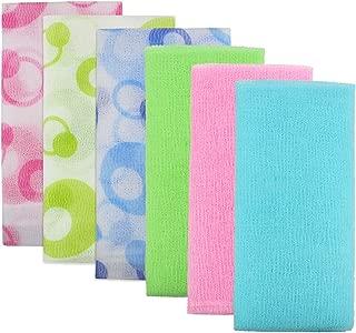 Meetory 6 Pieces Exfoliating Nylon Bath Cloth Towel, 35 inches (90cm) Beauty Skin Bath Wash Cloth Towel Massage Bath Cloth for Women and Men