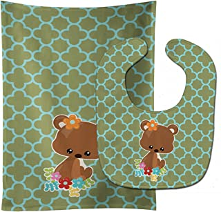 Caroline's Treasures Baby Bib & Burp Cloth, Baby Brown Bear, Large