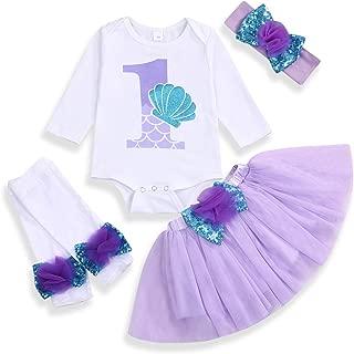 Baby Girls 1st Birthday Mermaid Outfit Romper Headband Leggings Tutu Skirt Sequin Bow Newborn Princess Skirt Sets