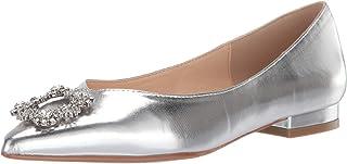 حذاء باليه مسطح SB-Diana Blue من Betsey Johnson للسيدات، فضي معدني، 6. 5 M US
