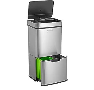Homra Poubelle de tri sélectif à capteur - 4 Compartiments - 72 litres - INOX - Design Poubelle de Recyclage - Nexo