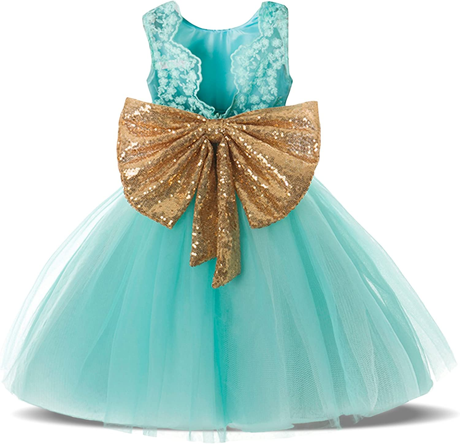 EsTong NEW Baby Girls Newborn Sequins Bowknot Party Toddler 1s Indefinitely Dress
