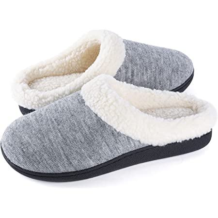 Wishcotton Ladies' Cozy Memory Foam Slippers, Womens Fuzzy Wool-Like Plush Fleece Lined House Shoes Indoor, Outdoor Non-Slip Rubber Sole