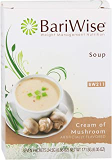 BariWise High Protein Low-Carb Diet Soup Mix – Low Calorie Cream of Mushroom (7 Count)