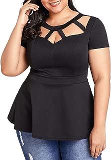 Women Plus Size Short Sleeve Flare Peplum Blouse Top
