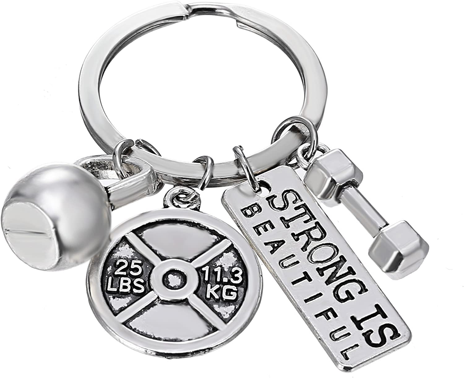 RINHOO FRIENDSHIP Stainless Steel Fitness Keychains with Quotes Weight Plate Dumbbell Kettlebell Charms Keyring