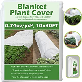 Valibe Plant Covers Freeze Protection 10 ft x 30 ft Floating Row Cover Garden Fabric Plant Cover for Winter Frost Protecti...