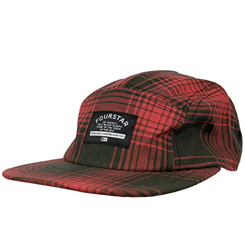 7b349613c2a FOURSTAR Skateboard Hat ACID PLAID WASHED RED 5-PANEL STRAP