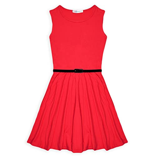 d384147ef6d Papaval Girls Skater Kids Sleeveless Party Fit Flare Belted Summer Dress  Ages 3-14 Years