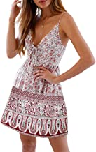 Dearlovers Womens Sexy Deep V Neck Spaghetti Straps Floral Printed Swing Mini Dress