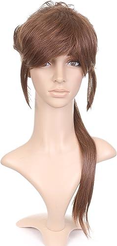 braun Anime Costume Cosplay Wig with Long Pony Tail