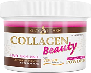 Collagen Beauty Powder By Suzy Cohen (3.3 oz) Anti Aging Hydrolyzed Protein Collagen Powder Type I and III for Supple Skin...