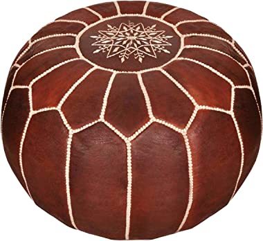 Moroccan Leather Pouf - Handmade Leather Pouffe - Luxury Dark Brown Pouf - Ottoman Footstool Hassock - 100% Real Natural Goat