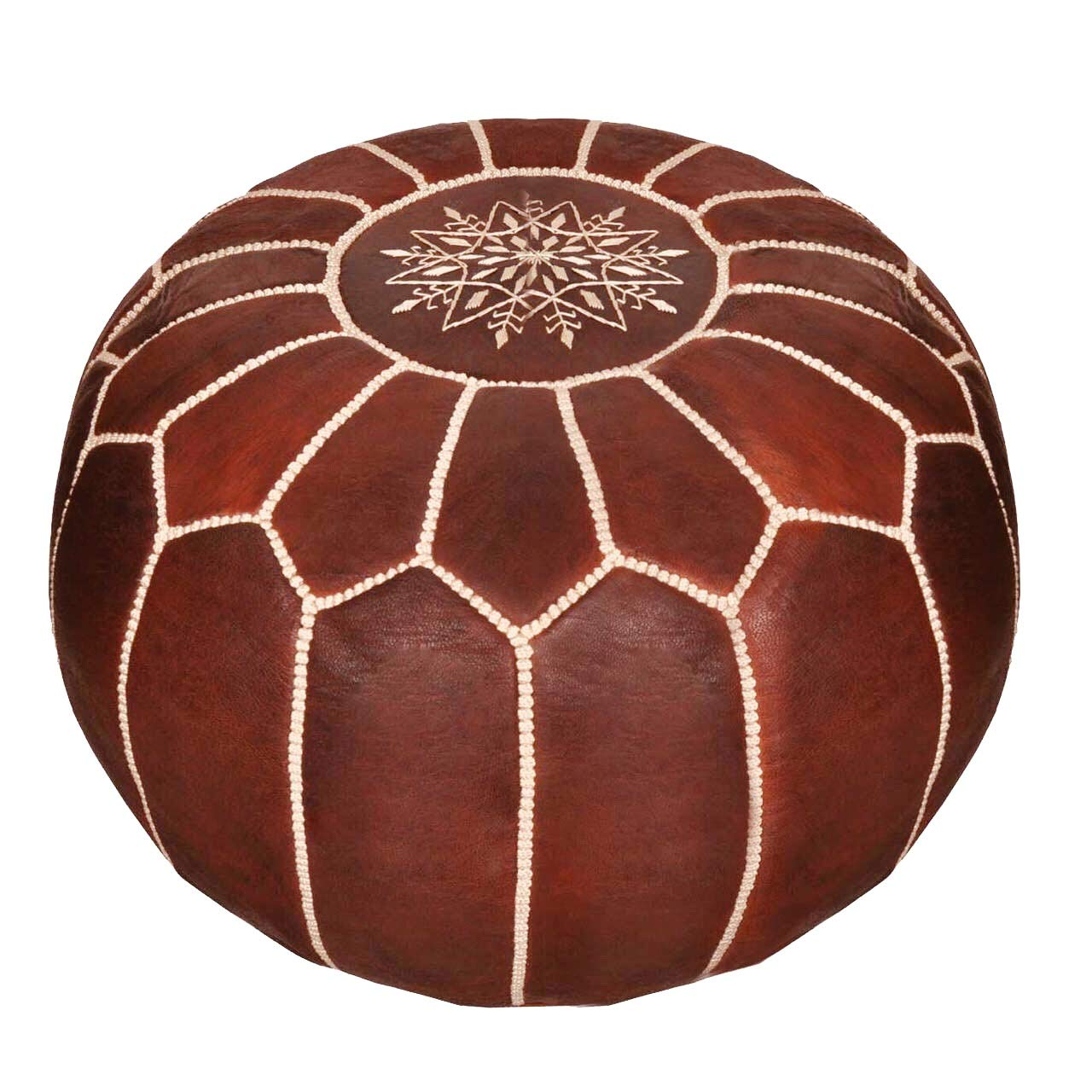 maisonmarrakech Handmade Leather Footstool Marrakech Tan Brown with White Stitching Unstuffed 23 x 12