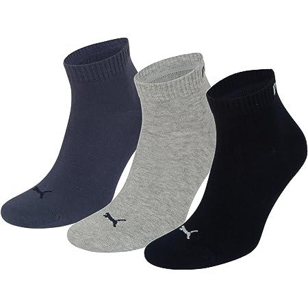 Puma Unisex Plain 3Pairs Quarter Sock, Nightshadow Blue Mix,Size: 9-11