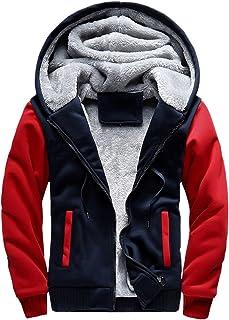 ASALI Men's Pullover Winter Jackets Hooed Fleece Hoodies Wool Warm Thick Coats