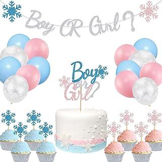لوازم حفلات شتاء للجنسين لافتة للصبيان أو البنات ندفة الثلج كعكة الكب كيك لحفلات استقبال المولود، بالون أزرق وردي