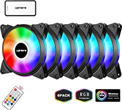 upHere 6-Pack 120mm Silent Intelligent Control Addressable RGB Fan Adjustable Colorful Fans with Controller and Remote,T6C63-6