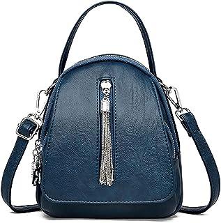حقيبة ظهر نسائية من Chliuchihjkl حقيبة ظهر نسائية جلدية حقائب يومية كاجوال حقيبة سفر صغيرة حقيبة ظهر (اللون: أزرق)