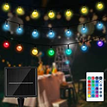 Globe Solar String Lights, Colorful 50 LED Outdoor Bulb String Lights with Remote Control ,Waterproof Timer Solar Patio Li...