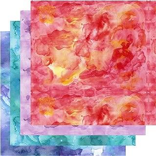 Patterned Vinyl Watercolor, Watercolor Vinyl, Shades Red Orange Blue Teal Purple, 4-12