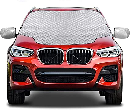 Gintenco Car Windshield Snow Cover, Frost Ice Windscreen Covers with Magnetic Edges, 4 Layers Thickness Snow Protector Covers with Side Mirrors Cover Easy to Use for Car SUV CRV Trucks: image