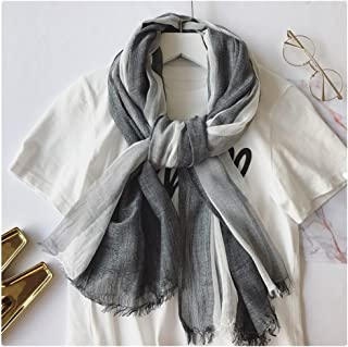 Japanese Style Linen Scarf Womens Sunscreen Shawl Striped Long Scarf