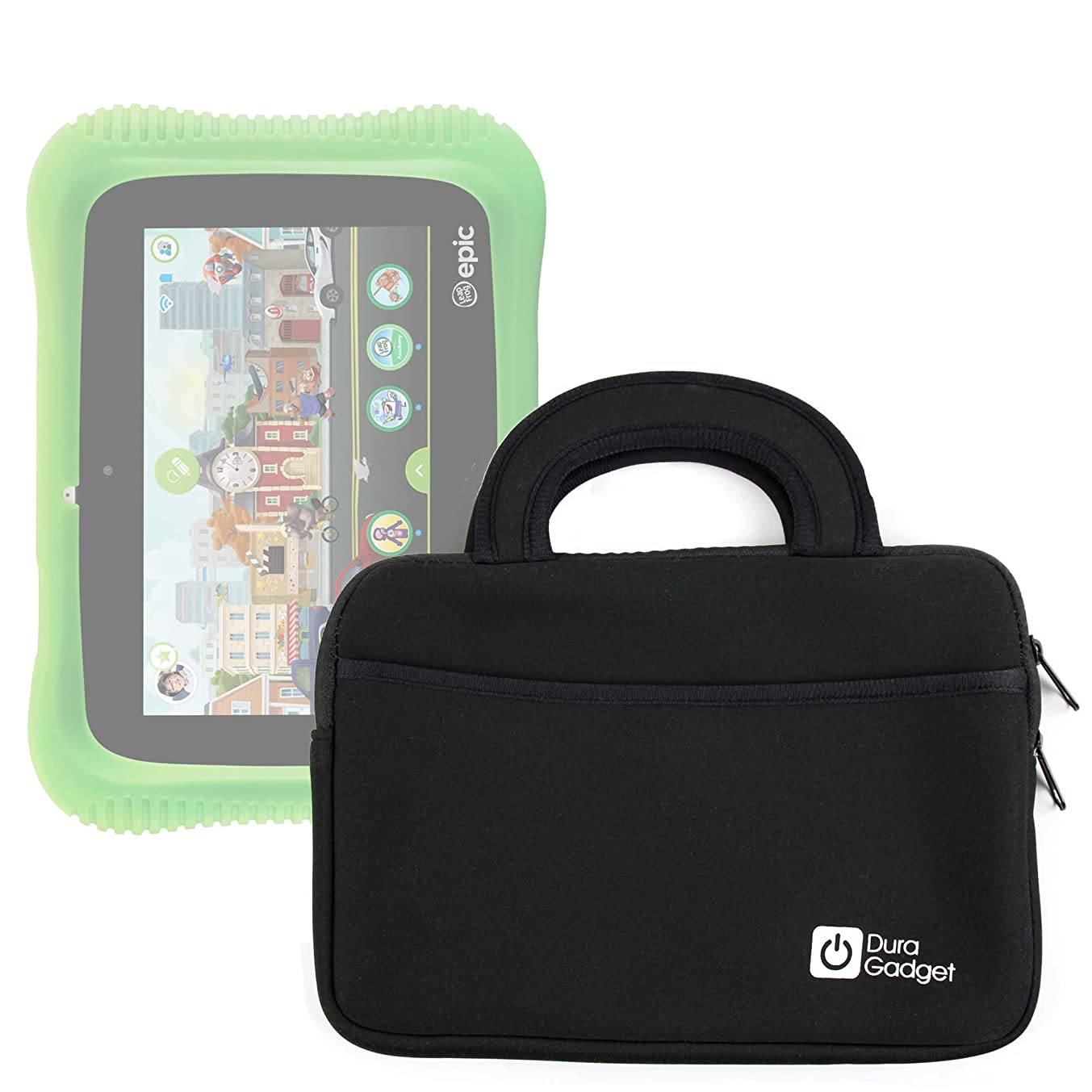 DURAGADGET Handy 'Briefcase Style' Water Resistant Neoprene Case/Cover with Additional Storage Pocket and Sturdy Carry Handle for The Leapfrog Epic Academy Edition Tablet