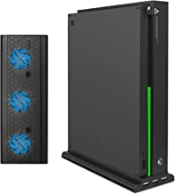 Xbox One X Vertical Stand with Cooling Fan, FastSnail Vertical Stand for Xbox One X with 3 USB Ports and a Light Bar (Only...