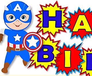 Personalized Captain America Birthday Party or Baby Shower Banner- Optional Superheros, Superman, Batman, Wonder Woman, Super Girl - Decorations Invitations, Sign, Favor Tags, Thank Yous - BCPCustom