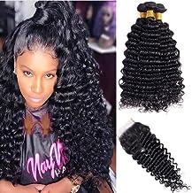 "JGMI Deep Wave Bundles with Closure Brazilian Virgin Human Hair Extensions with 4×4 Lace Closure Free Part Natural Color (16""18""20""+14"", deep wave)"