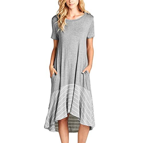 008dd032fff ROSKIKI Womens Summer Casual Midi Dress with Pockets High Low Spilce Ruffle  Hem Short Sleeves Round