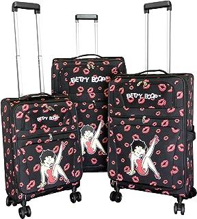 "Betty Boop 3 pcs luggage set black kick 4 pairs wheels Expandable Spinner 28"""