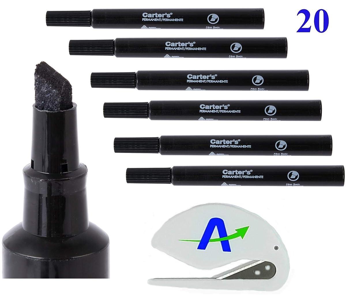 なんでもポーク退屈Avery Carter's 大きなデスクスタイル油性マーカー20本セット 非毒性 低臭 速乾性 カラー:ブラック ボーナスAdvantageOPレターオープナー付き
