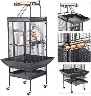 Yaheetech Wrought Iron Rolling Large Bird Cages for African Grey Small Quaker Amazon Parrots Cockatiels Sun Parakeets Green Cheek Conures Doves Lovebirds Budgies Play Top Bird Cage with Stand