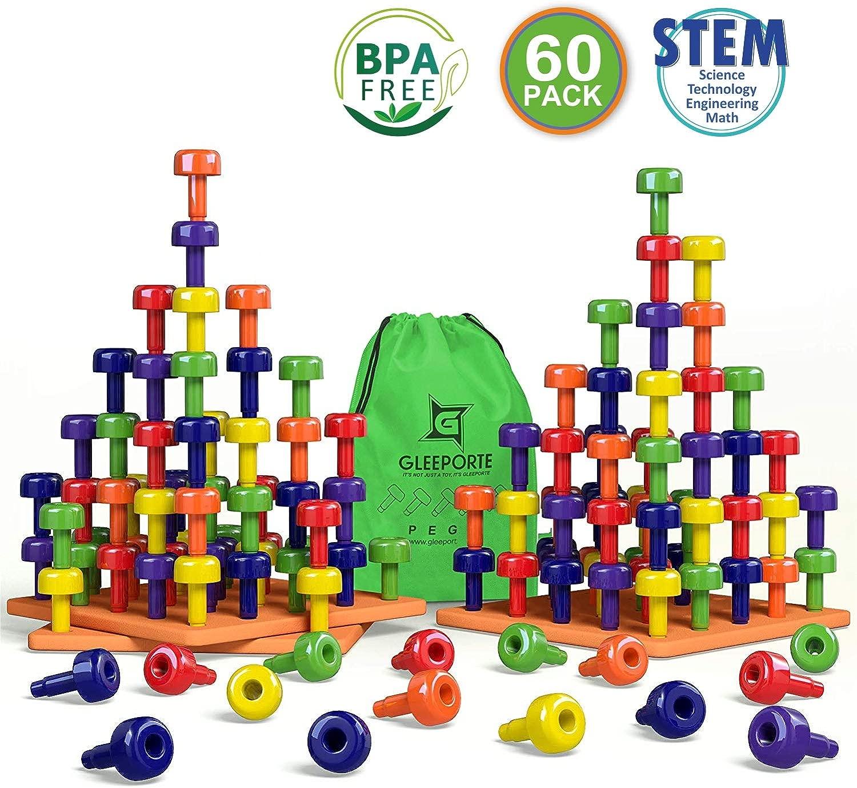Gleeporte Impilabile Peg Insieme del Bordo di giocattolo Jumbo Pack Montessori Terapia Occupazionale Early Learning per capacità motorie, comprende 60 Plastic Pioli e 3 schede Storage borsa