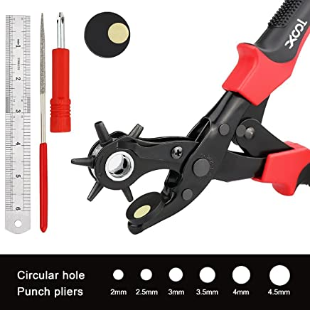 XOOL Revolving Punch Plier Kit, Punch Hole Tool including Punch Plier, Brass Pad, Screwdriver and Grinding Rod for Belt, Saddle, Watch Strap, Shoe, Fabric, Paper, etc